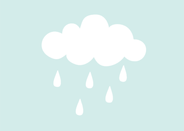 Muursticker illustratie regenwolk met regendruppels wit
