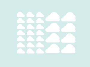 Muursticker illustratie wolken wit