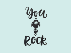 Muursticker tekst you rock met illustratie raket