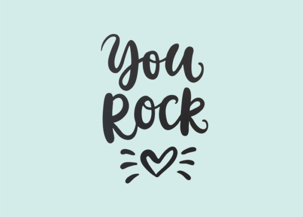 Muursticker met tekst you rock en illustratie hartje