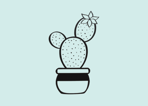 Muursticker cactus met bloem in pot