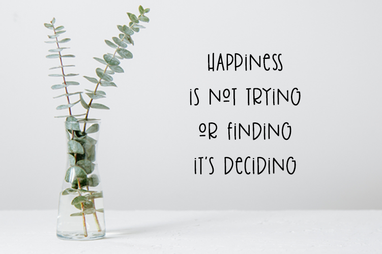 muursticker happiness is not trying or finding it's deciding bevestigd
